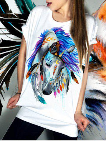 Cheap Casual Short Sleeve Round Neck Horse Pattern Women's T-Shirt