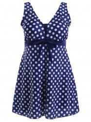Bowknot Polka Dot Skirted One-Piece Swimsuit -