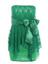 Alluring Strapless Sleeveless Solid Color Lace-Up Women's Dress
