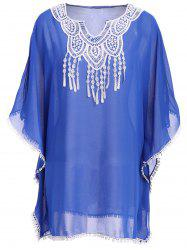 Crochet Trim Chiffon Swing Kaftan Tunic Cover Up