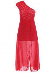 Chiffon One Shoulder Lace Panel Cocktail Party Prom Maxi Dress - Rouge