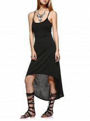 Asymmetrical Backless Strappy Slip Dress