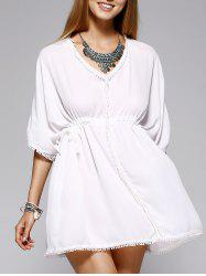 Simple Plunging Neck High Low Cover-Up Dress For Women -