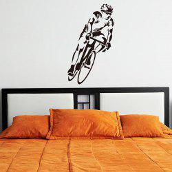 Mode Décoration Bicycle Sportsman Design Autocollant Art mur - Noir