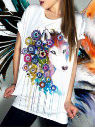 Casual Short Sleeve Floral Fox Pattern Women's T-Shirt -