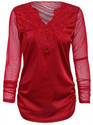 Stylish V-Neck Long Sleeve Embroidered Voile Spliced Women's Blouse
