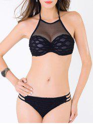 High Neck Mesh Push Up Bandeau Bikini Set - BLACK S