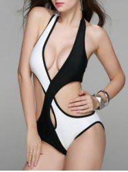 Alluring Women's Criss-Cross Hit Color Cut Out One-Piece Swimwear