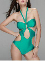 Chic Women's Halter Cut Out Bandeau One-Piece Swimwear -