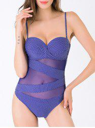 Sweet Women's Plus Size Spaghetti Strap Polka Dot Mesh One-Piece Swimwear - PURPLISH BLUE 3XL