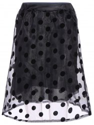 Fashionable Polka Dot Print Organza Spliced Skirt For Women - BLACK