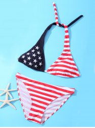 Halter Two Tone American Flag Patriotic Swimwear - COLORMIX L