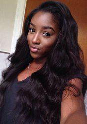 Stylish Long Synthetic Fluffy Wave Black Lace Front Wig For Women -