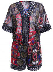 Ethnic Style Print Lace-Up Batwing Sleeves Blouse and Print Shorts Set For Women -