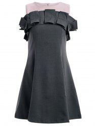 Stylish Sleeveless Frill Design A-Line Dress For Women -