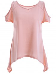 Casual Scoop Neck Asymmetric Cold Shoulder Short Sleeves Blouse For Women -