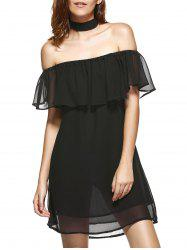 Off The Shoulder Flounce Chiffon Dress
