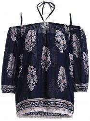 Ethnic Style Spaghetti Strap Tie Fringe Print Blouse For Women