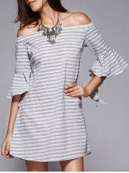 Chic Off-The-Shoulder Cut Out Striped Dress For Women - STRIPE L