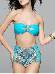 Floral Cutout High Waisted Bandeau Bikini Set -