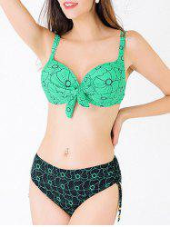 Charming Spaghetti Strap Push Up Abstract Floral Print Women's Bikini Set