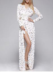Feather Print Long Sleeve Slit Wrap Maxi Dress