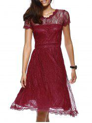 Elegant Button Front Scalloped Layered Women's Lace Dress