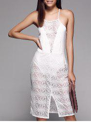 See-Through Slit Front Sleeveless Lace Cami Dress -