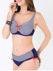 Plus Size Stripe Bowknot Push Up Bikini