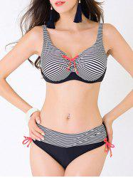 Plus Size Stripe Bowknot Push Up Bikini - BLACK L