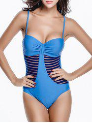 Mesh Panel Bandeau One Piece Swimsuit with Underwire - MEDIUM BLUE XL