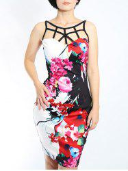 Trendy Sleeveless Floral Print Hollow Out Women's Skinny  Dress -