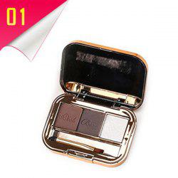 Stylish 3 Colours Long Lasting Smooth Eyebrow Powder Palette with Mirror and Brush -