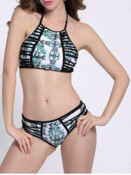Print Strappy High Neck Halter Bikini Bathing Suit -