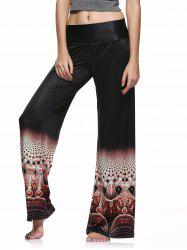 Elastic Waist Colorful Printed Loose-Fitting Palazzo Pants - BLACK