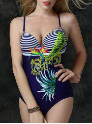 Strip Print Beaded Cutout One Piece Swimsuit