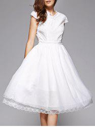 Trendy Lace Spliced V-Neck White Midi Dress For Women - WHITE XL