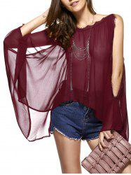 Batwing Sleeves Laciness See-Through Chiffon Blouse -