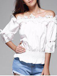 Off The Shoulder Guipure Frilled Blouse -