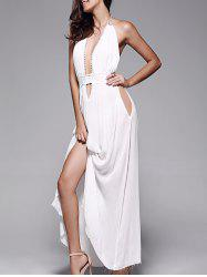 Backless Long Prom Dress with Halter Neckline