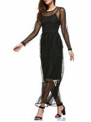 Simple Black Sundress and Mesh See-Through Layered Dress Twinset -