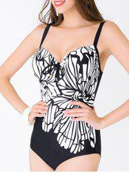 Flower Push Up One Piece Swimsuit - BLACK 3XL