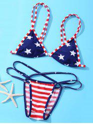 Fashionable American Flag Printing Spaghetti Strap Bikini Suit For Women -