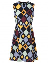 Fashionable Fitted Round Neck Checkered Print Dress For Women -