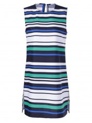 Fashionable Fitted Round Neck Stripe Print Dress For Women - WHITE + BLUE + GREEN XL