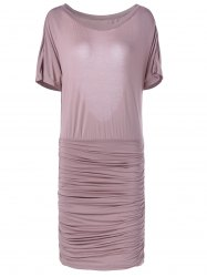 Fashionable Slimming Scoop Neck Open Back Dress For Women - SHALLOW PINK L