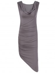 Fashionable Fitted Pleated Cowl Neck Low-Cut Dress For Women -