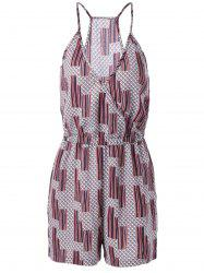 Ethnic Style Loose-Fitting Spaghetti Strap Geometric Print Romper For Women - COLORMIX L