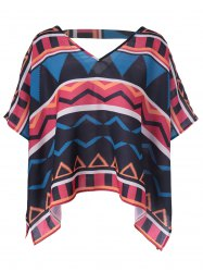 Retro Style Loose-Fitting V-Neck Geometric Print Blouse For Women -