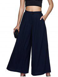 High-Waisted Wide Leg Palazzo Chiffon Pants - PURPLISH BLUE